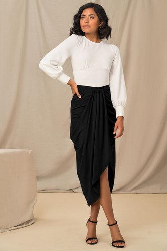 back_Feeling Sassy Black Draped Skirt