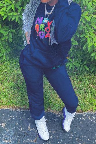 front_Letter Pullover Royal Blue Sweatshirt Sets