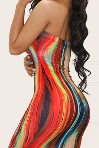front_Agrippina Eleanore Red Tie Dye Tube Dress