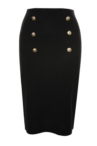 front_Button Up Your Story Black Pencil Skirt