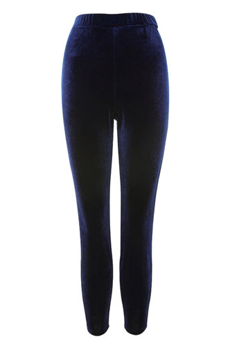 front_Welcome To The Party Navy Blue Velvet Leggings