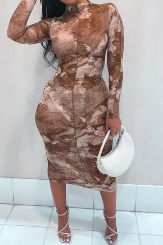 front_Charlene Esther Khaki Plus Bodycon Dress