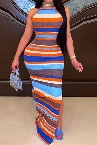 front_Janice Elvira Striped Split Hem Bodycon Dress
