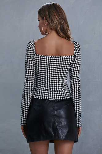 back_Rabia Black And White Houndstooth Top