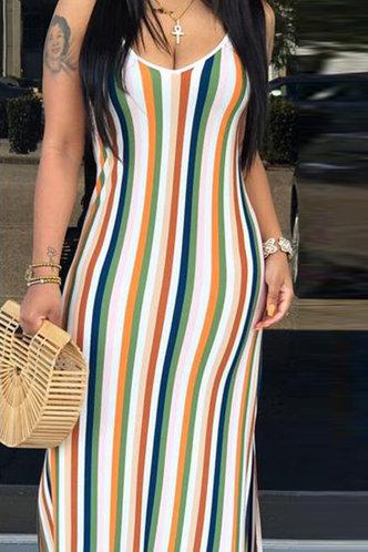 front_Albina Elsa Colorful Striped Cami Dress