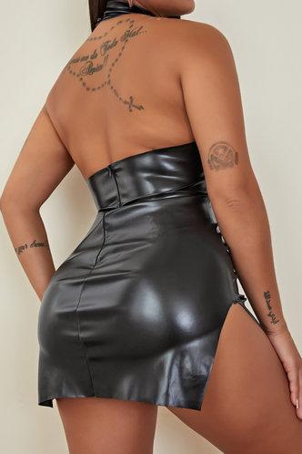 back_Lisbeth Elvira Black Split Hem Dress