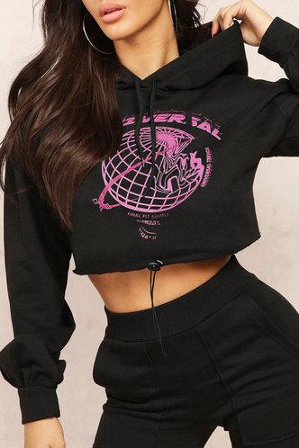 front_Street Hooded Collar Graphic Print Black Sweatshirts & Hoodies