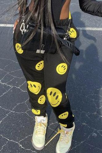 back_Mid Waist All Over Print Black Sweatpants