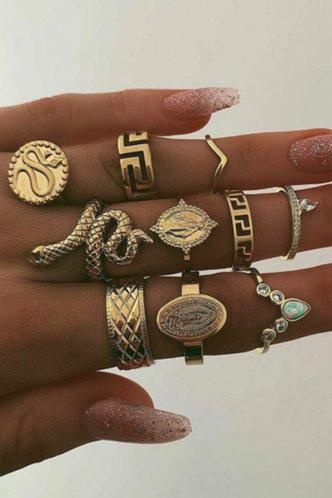 front_Starr Ella Gold Snakeskin Decor Ring 10pcs