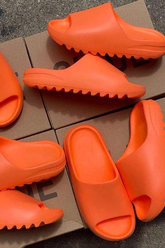back_Flat Open Toe Orange Slides & Flip Flops