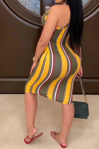 back_Celia Elizabeth Green And Yellow Striped Bodycon Dress