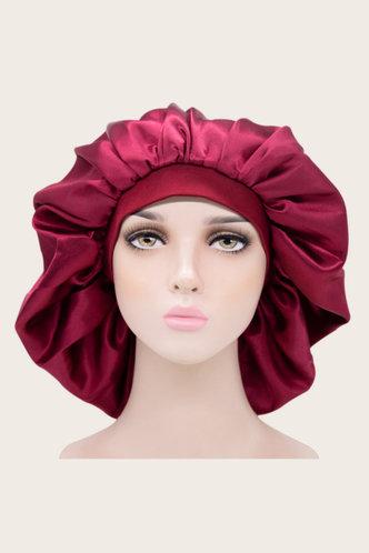 front_Bella Emily Red Wine Hair Bonnet
