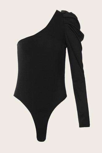 back_Cara Eartha Black One Shoulder Bodysuit