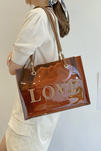 back_Letter Print Brown Tote Bags