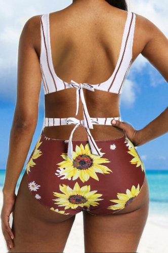 back_Else Elsa Sunflower Print One-Piece Swimsuit