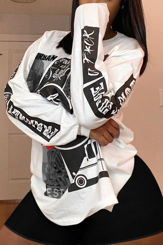 back_Casual Crew Neck All over print White Sweatshirts & Hoodies