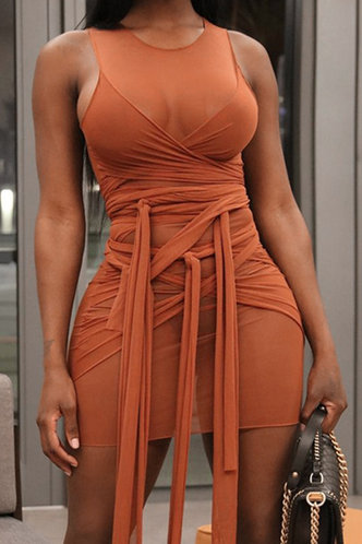 front_Catharine Elsa Rust Red Mesh Bodycon Dress