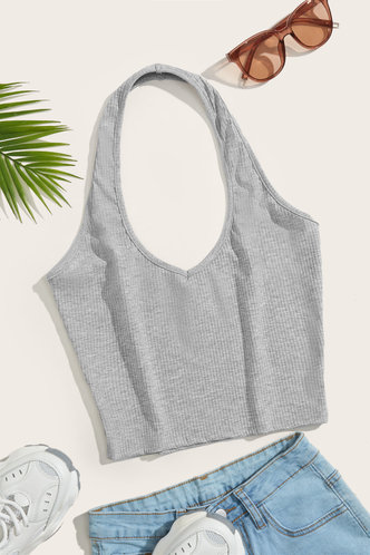 front_Dahlia Grey Halter Top