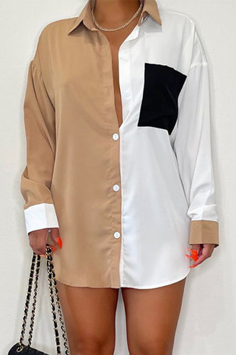 front_Paulina Evangeline Colorblock Button Up Longline Blouse