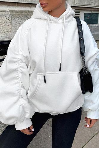 front_Camilla Evangeline White Drawstring Pocket Hoodie