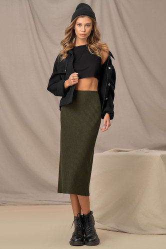 front_Pencils Down Army Green Pencil Skirt