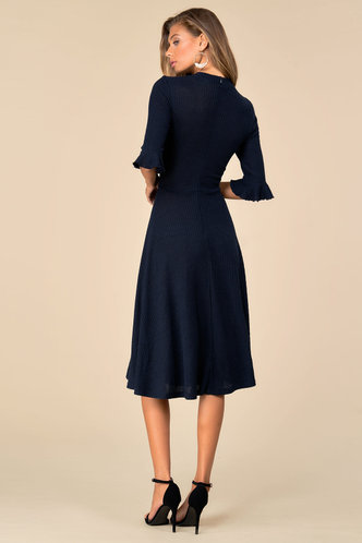 back_Call Me Classy {color} Trumpet Sleeve Dress