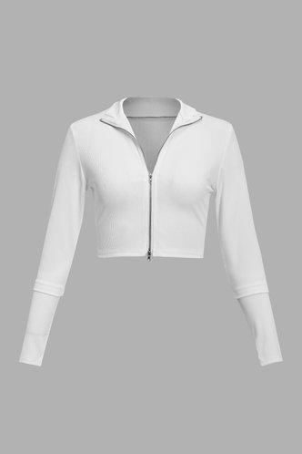 back_Casual Plain Zig Up Regular sleeve White Tees