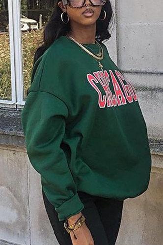 back_Sporty Hooded Collar Letter Print Green Sweatshirts & Hoodies