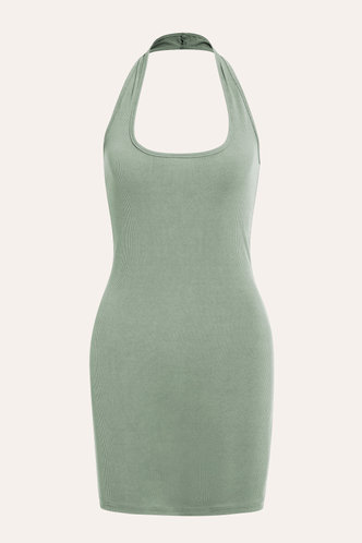 back_Janet Edwina Light Green Bodycon Halter Dress