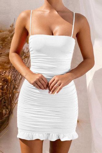 front_Deane Edith White Flounce Hem Dress