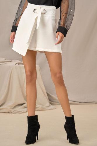 back_Asymmetrical Wonder White Wrap Shorts