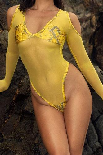 front_Garnet Elsa Yellow Snakeskin Print One-Piece Swimsuit
