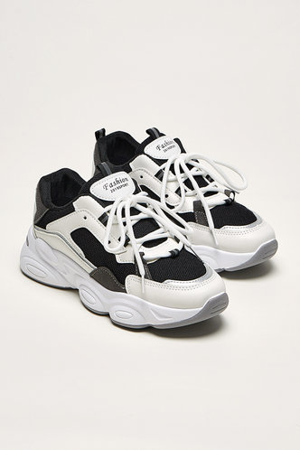 front_Kitty Edwina Black And White Lace Up Front Chunky Sneakers
