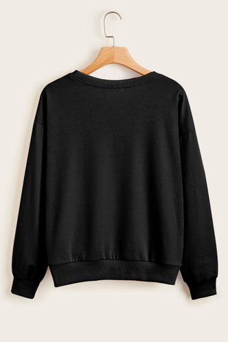 back_Round Neck Graphic Print Black Sweatshirts & Hoodies