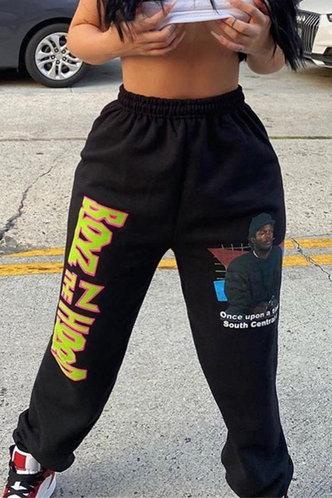 back_Low Waist Letter Graphic  Black Sweatpants