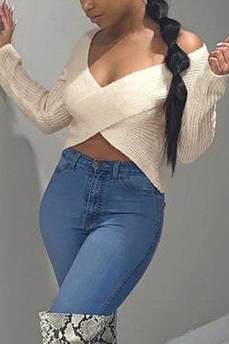 back_Deep V Neck Plain  Long Sleeve Beige Sweaters