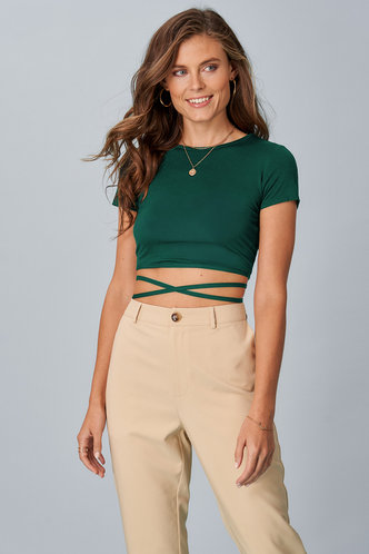 back_All Tied Up Dark Green Short Sleeve Top