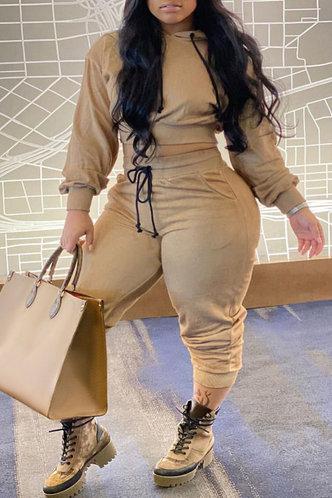 front_Plain Pocket Pullover Khaki Plus Size Pants Sets