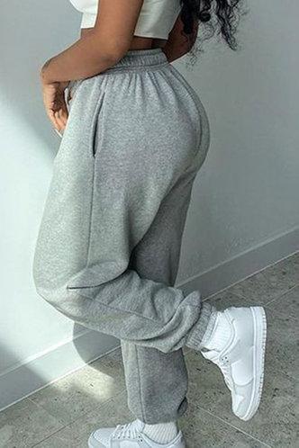 back_High Waist Plain Grey Sweatpants