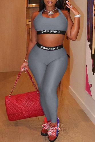 front_Mid Waist Skinny Dark Grey Activewear Sets