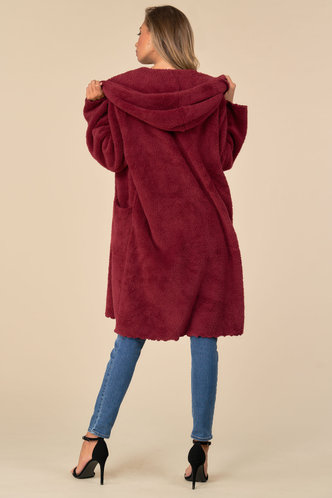 back_Casually Yours Burgundy Teddy Coat
