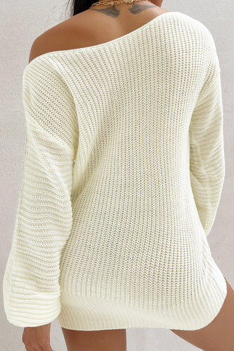 back_Asymmetrical Neck Solid Color Dropped Shoulder White Sweaters