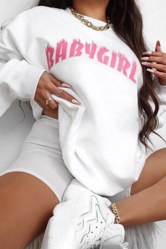 front_Casual Round Neck Letter  White Sweatshirts & Hoodies