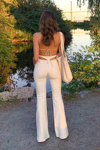 front_Frederica Eden White Flare Pants
