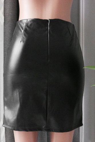 back_High Waist Black Skirts
