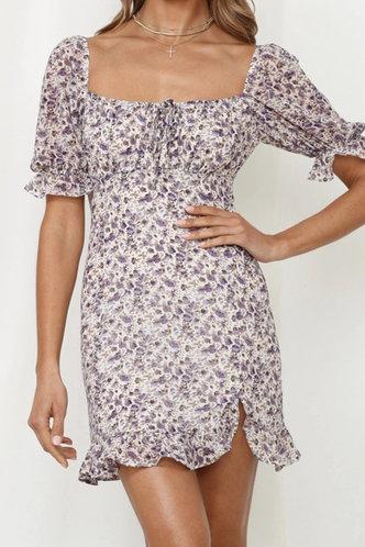 front_Darlene Kredeblo Purple Floral Print Tie Front Dress
