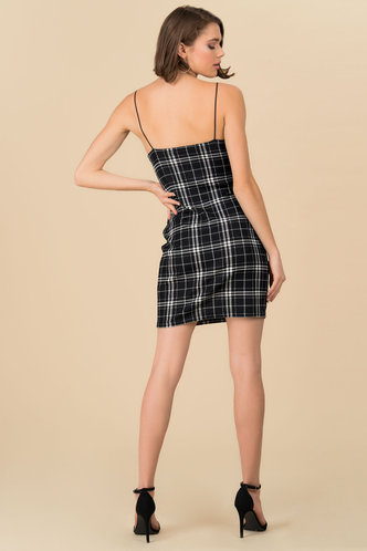 back_Incognito Black Plaid Slip Dress