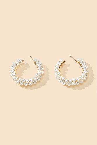 back_Apple Ella White Faux Pearls Charm Beaded Earrings 1pair