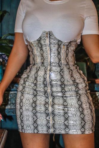 front_Melody Emily Grey Snakeskin Print Plus Size Dress