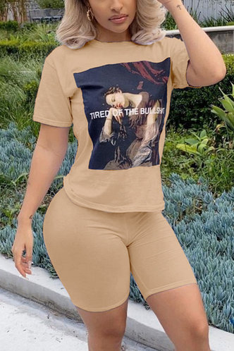front_Pullover Seamed Khaki Shorts Sets